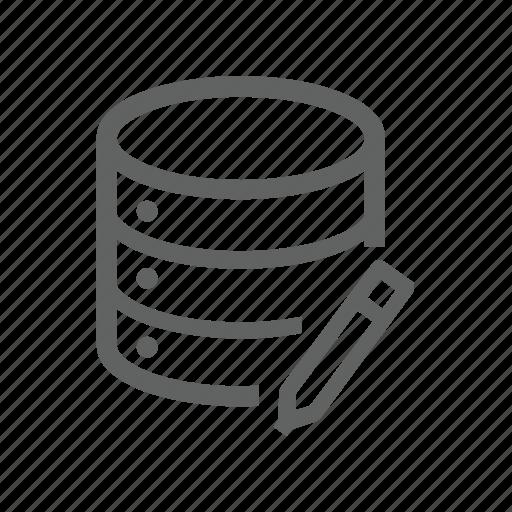database, edit, pen, pencil, server icon