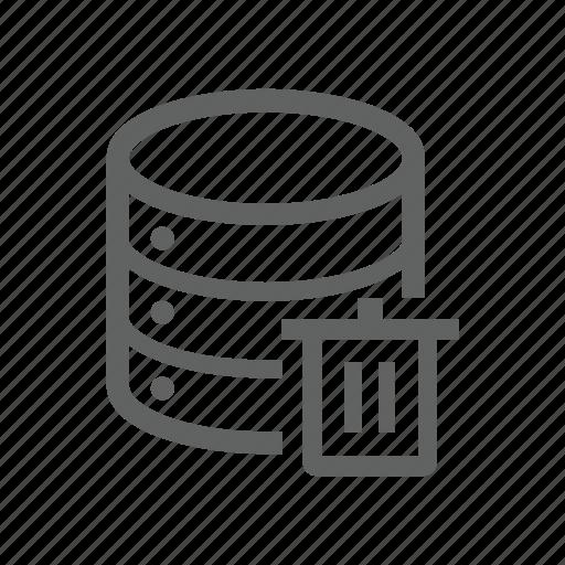database, delete, remove, server, trash, trash bin icon