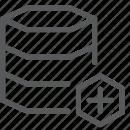 add, data, database, hosting, layers, network, plus, server icon