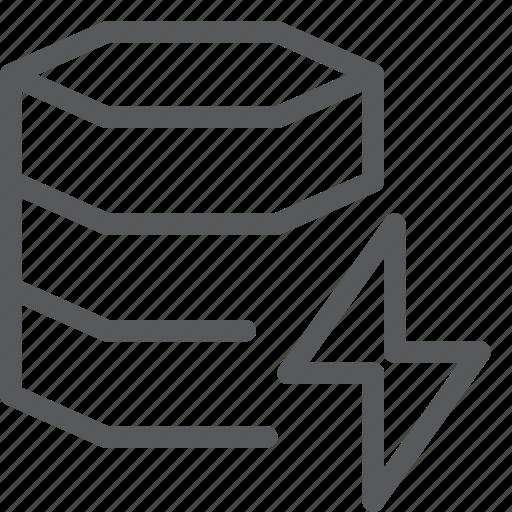 data, database, flash, hosting, layers, lightning, network, server icon