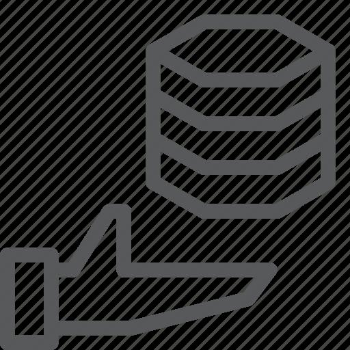 data, database, hosting, layers, network, server, share icon