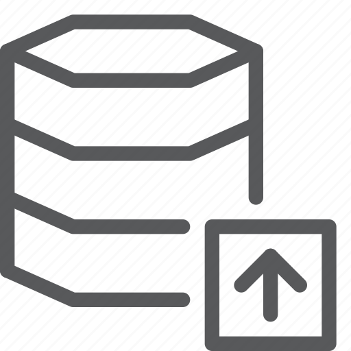 arrow, data, database, hosting, layers, network, server, upload icon