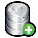 add, big data, data, database, new, server, storage icon
