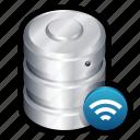data, database, dbase, server, storage, wifi, wireless icon