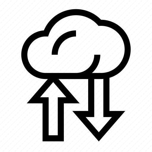 arrow, cloud, data, database, server icon