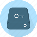 database, hard-drive, key, lock, storage icon