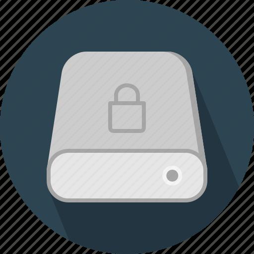 database, hard-drive, lock, storage icon