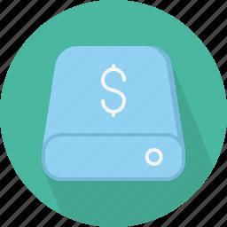 cost, database, hard-drive, money, storage icon