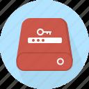 database, hard-drive, password, storage icon