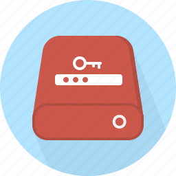 database, hard-drive, password, storage icon