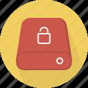 database, hard-drive, storage, unlock icon