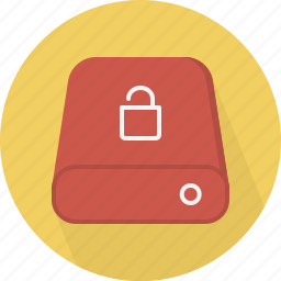 database, hard-drive, storage, unlock icon