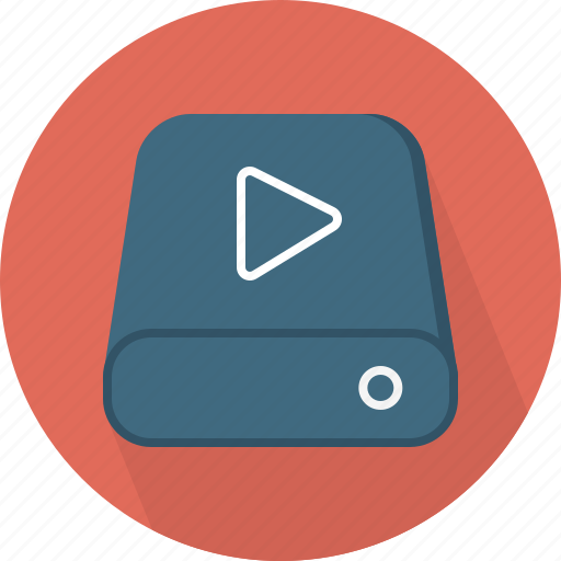 database, hard-drive, play, storage, video icon