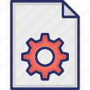 document cog, file cog, file optimized, file with gear icon