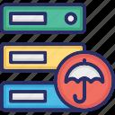 data storage with umbrella, database with umbrella, hosting with umbrella, server security icon