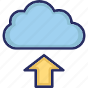 cloud, data storage, data transfer arrow, upload icon