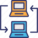 connectivity, data transfer, laptop to laptop transfer icon