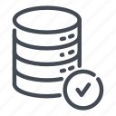 check, data, database, ok, server, storage, tick icon