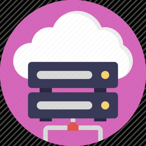 cloud computing, cloud data network, cloud server, cloud storage, database server icon