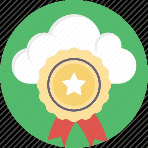 cloud computing and achievements, cloud computing awards, online achievements, online awards, success via internet icon