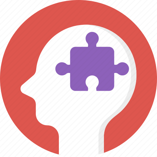 brain jigsaw, creative brain, exploration symbol, mental attention symbol, project manager icon
