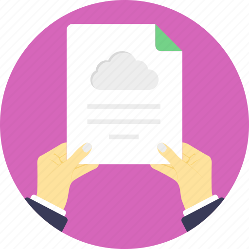 cloud archive, cloud computing application, cloud computing article, cloud computing document, hand holding cloud-based file icon