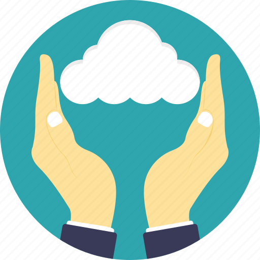 cloud computing concept, cloud hosting, cloud service, cloud storage and sharing, hands with cloud icon