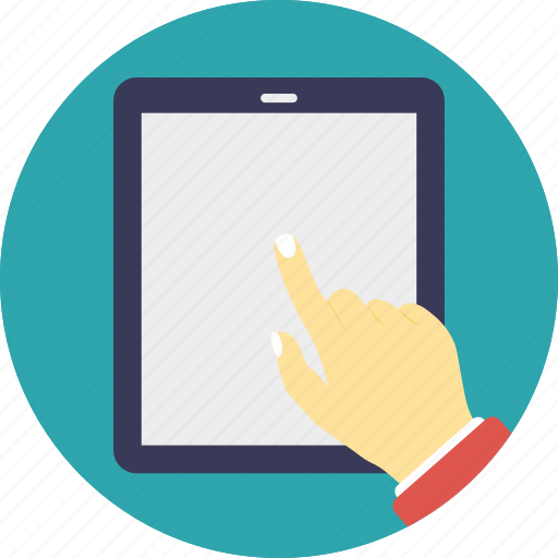 ipad usage, tablet computer interface, tablet computer operating, tablet computer usage, user touches tablet screen icon