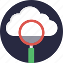 cloud computing concept, cloud exploration, cloud monitoring service, cloud search, cloud with magnifier icon