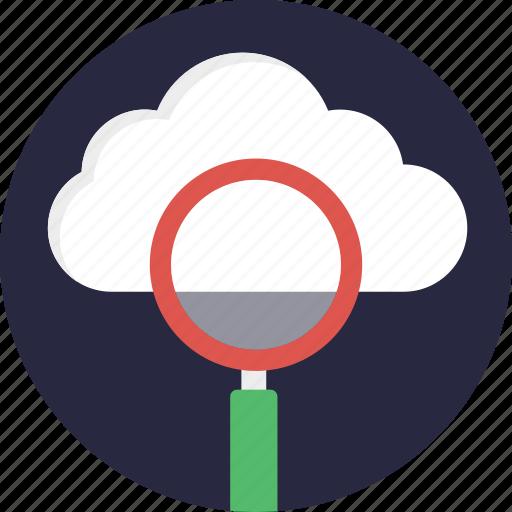cloud computing concept, cloud exploration, cloud monitoring service, cloud search, cloud with magnifier icon