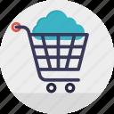 cloud online shopping, cloud shopping cart, ecommerce concept, online shop, online shopping icon