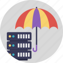 protected storage system, server inside umbrella, server protection for storage, server protection symbol, server security icon