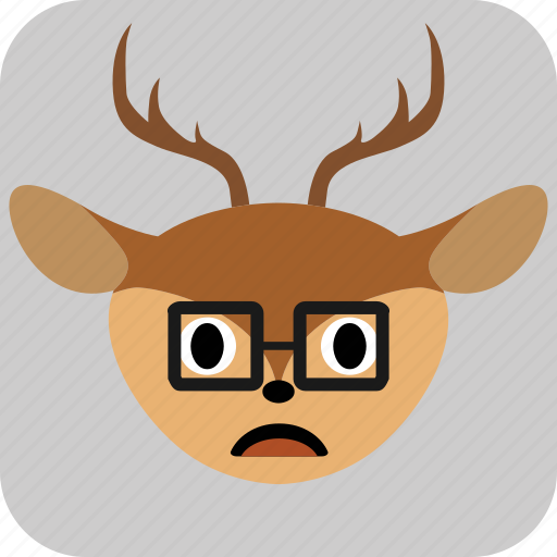 Emoticon, deer, face, smile, sad, expression icon