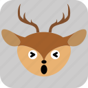 deer, emoticon, expression, face, sad, smile