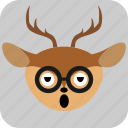 deer, emoticon, expression, face, sad, smile icon