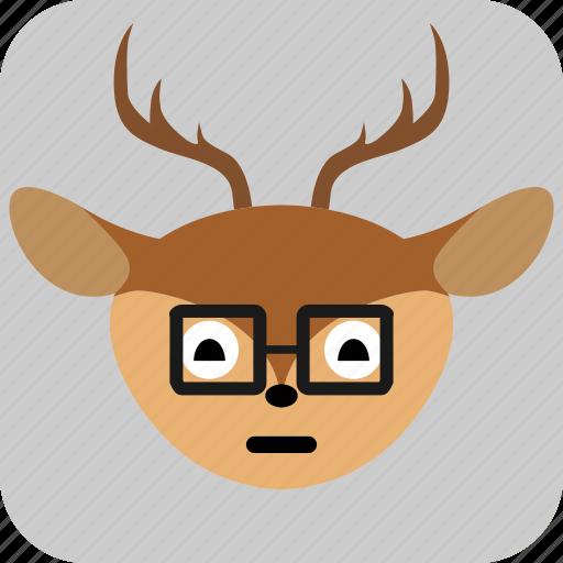 deer, emoticon, expression, face, sad, smile icon