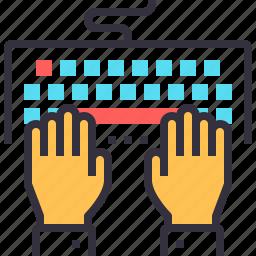 code, coding, hands, keyboard, program, programming, typing icon