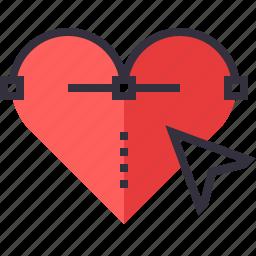 arrow, bezier, curve, design, heart, illustration, vector icon