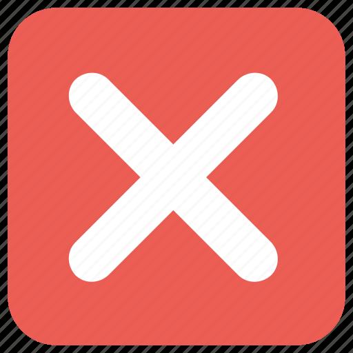 delete, remove, square icon