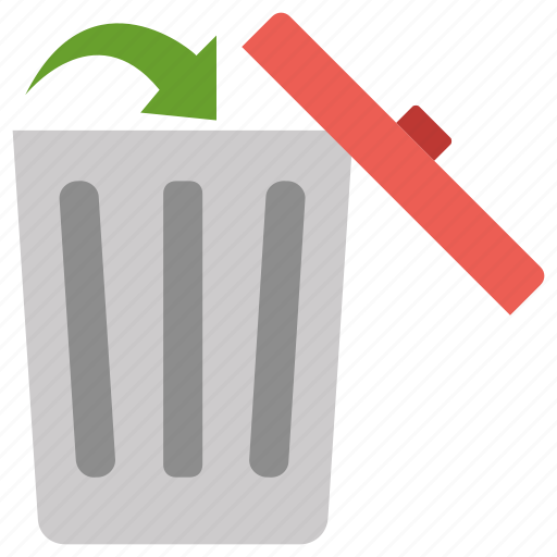 arrow, delete, dustbin, open, recycle bin, remove icon