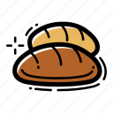 baguette, bakery, bread, breakfast, eat, food, loaf icon