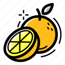 citrus, fruit, healthy, lemon, orange, slice, tropical icon