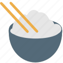 asian, bowl, chinese, chopstick, cuisine, japanese, white rice icon