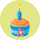 birthday, candle, cupcake, dessert, muffin icon