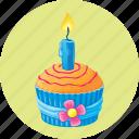 birthday, candle, cupcake, dessert, muffin