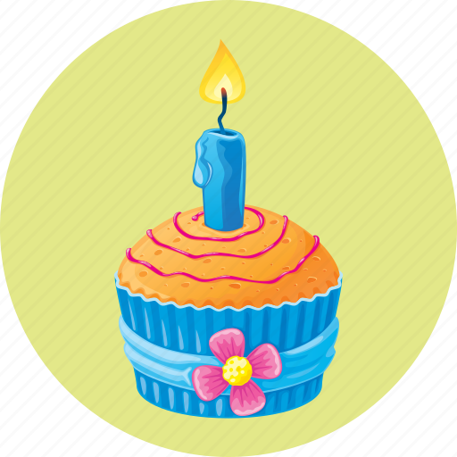 birthday, candle, cupcake, dessert, muffin icon