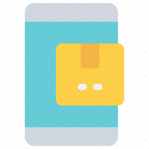 box, delivery, mobile, package, smartphone icon