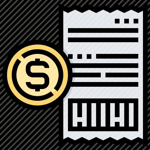 amount, bill, money, payment, receipt, slipt icon