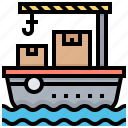 delivery, freighter, sea, ship, transport icon