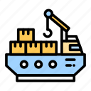 cargo, delivery, freighter, logistic, ship, shipping icon